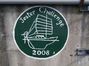 Jester Challenge artwork on the Praia da Vittoria seawall. https://jesterchallenge.wordpress.com/
