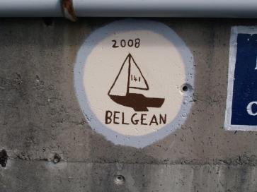 Jester Challenge Belgean artwork on the Praia da Vittoria seawall.